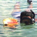 Picking up conch
