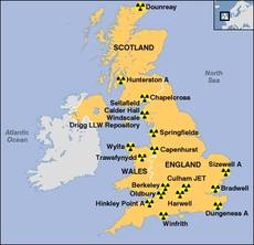 Location of UK nuclear power stations